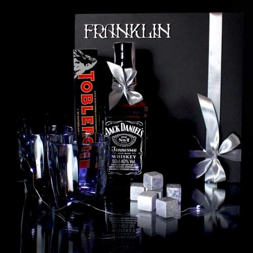 Дыловий подарунковий набір для чоловіків з віскі Jack Daniel's та стильними склянками Men's party ►FRANKLIN-1
