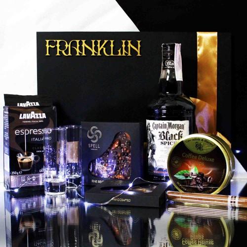 Мужской подарочный набор с черным ромом, кофе и сигарой Morgan ▶Franklin-1