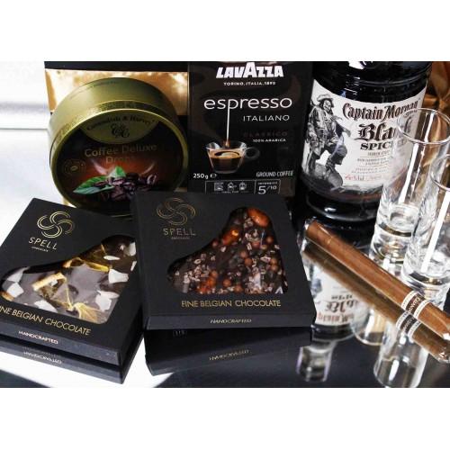 Мужской подарочный набор с черным ромом, кофе и сигарой Morgan ▶Franklin-3