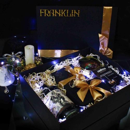 Мужской подарочный набор с черным ромом, кофе и сигарой Morgan ▶Franklin-2