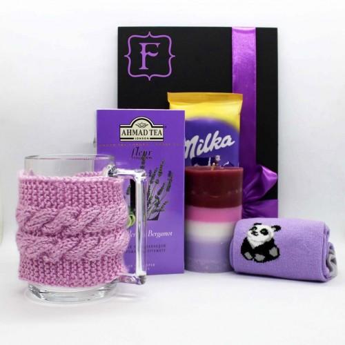 Жіночий подарунковий набір з чашкою, чаєм та шкарпетками lavender ►Franklin-1