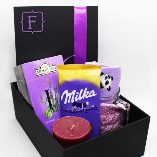 Жіночий подарунковий набір з чашкою, чаєм та шкарпетками lavender ►Franklin-2