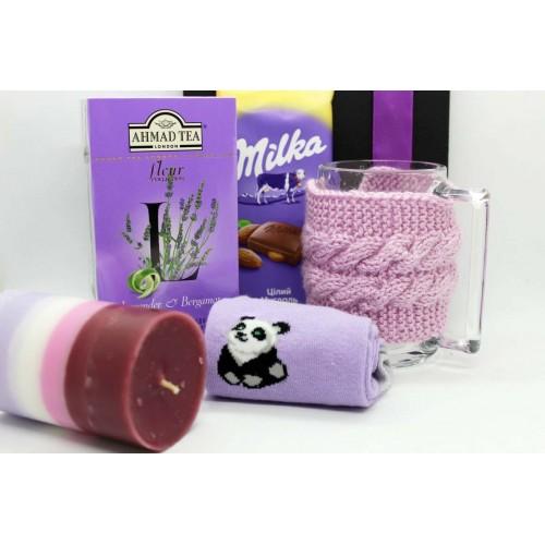 Жіночий подарунковий набір з чашкою, чаєм та шкарпетками lavender ►Franklin-3