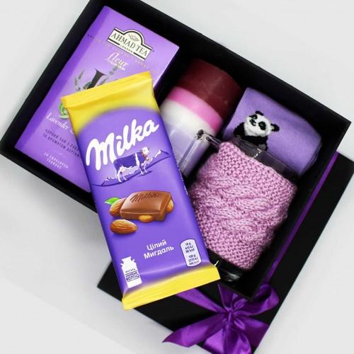 Жіночий подарунковий набір з чашкою, чаєм та шкарпетками lavender ►Franklin-4