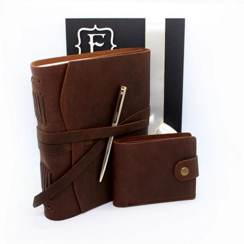 Набор кожаных аксессуаров для мужчин One Style Brown