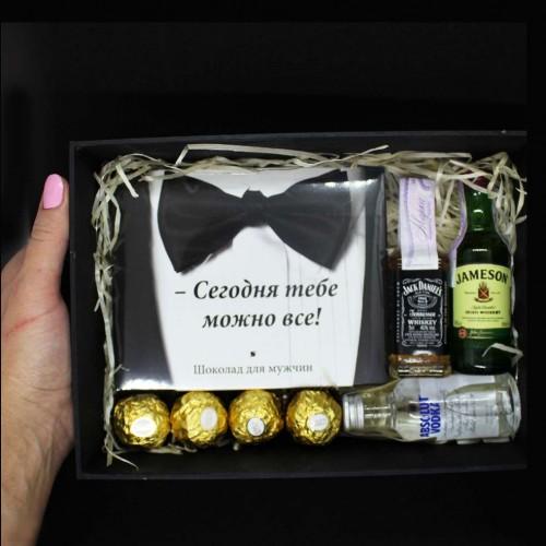 Подарочный набор для мужчин с алкоголем и шоколадом All Inclusive ▶FRANKLIN -3