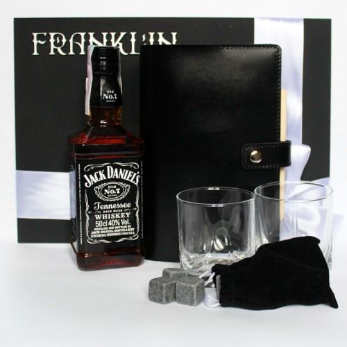 Деловой подарочный набор для мужчин с кожаным блокнотом и виски Big Boss ▶ FRANKLIN -1