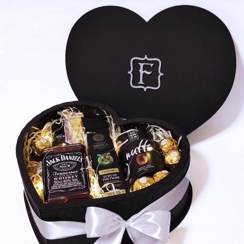 Подарочный набор для мужчин в виде сердца с алкоголем Black Heart ▶FRANKLIN -3