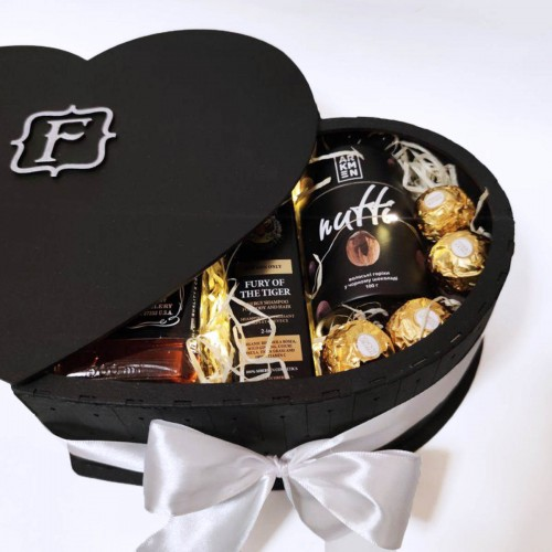 Подарочный набор для мужчин в виде сердца с алкоголем Black Heart ▶FRANKLIN -5