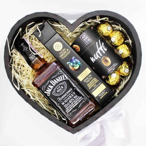 Подарочный набор для мужчин в виде сердца с алкоголем Black Heart ▶FRANKLIN -7