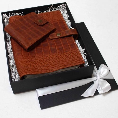 Подарунковий набір шкіряних аксесуарів ►Business Crocodile від Franklin-6