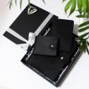 Набір з блокнотом та портмоне з натуральної шкіри ►Business Black Max-3