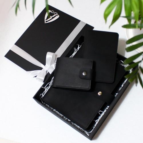 Набір з блокнотом та портмоне з натуральної шкіри ►Business Black Max
