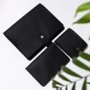 Набір з блокнотом та портмоне з натуральної шкіри ►Business Black Max-5
