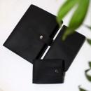 Набір з блокнотом та портмоне з натуральної шкіри ►Business Black Max-7