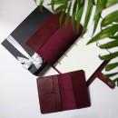Набір з блокнотом та обкладинкою для документів з бордової шкіри -6