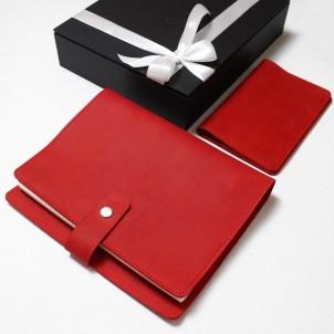 Подарунковий набір шкіряних аксесуарів ►Business Red від Franklin-1