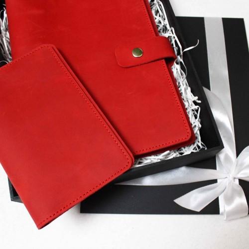 Подарунковий набір шкіряних аксесуарів ►Business Red від Franklin-5