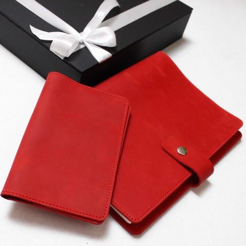 Подарунковий набір шкіряних аксесуарів ►Business Red від Franklin-3