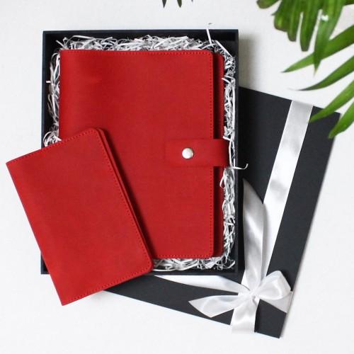 Подарунковий набір шкіряних аксесуарів ►Business Red від Franklin-7