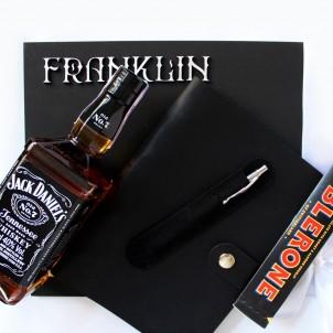 Подарочный набор для мужчин с алкоголем, кожаным блокнотом и ручкой Business Box ▶ FRANKLIN -1