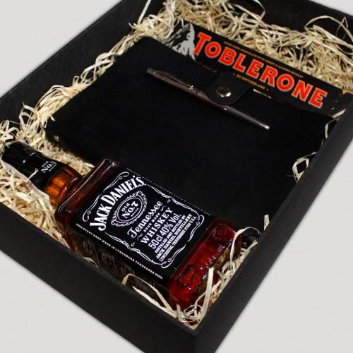 Деловой мужской подарочный набор с алкоголем, кожаным блокнотом и ручкой Business Box ▶FRANKLIN -4