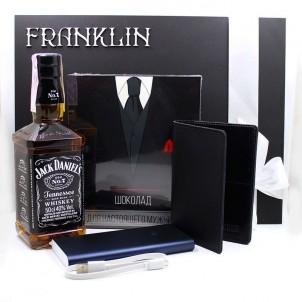 Деловой подарочный набор для мужчин с виски, кожаной обложкой и powerBank ▶Cool Man-1