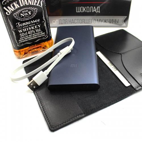 Деловой подарочный набор для мужчин с виски, кожаной обложкой и powerBank ▶Cool Man-2