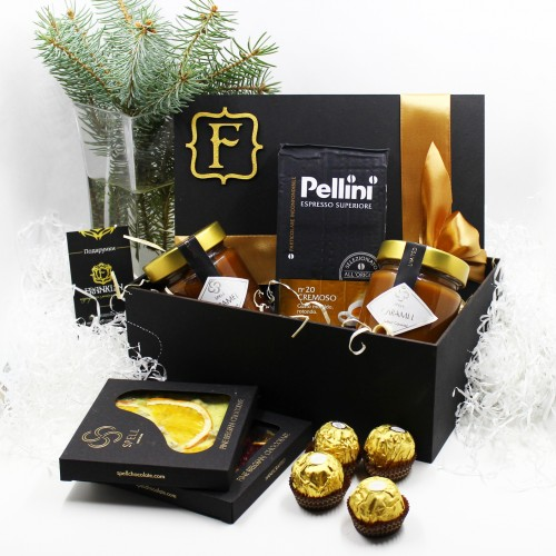 Набір подарунковий з бельгійським шоколадом, карамеллю та кавою Delicious ►FRANKLIN-1