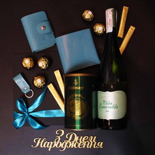 Жіночий подарунковий бокс з вином та шкіряними аксесуарами ►Esmeralda від Franklin-3