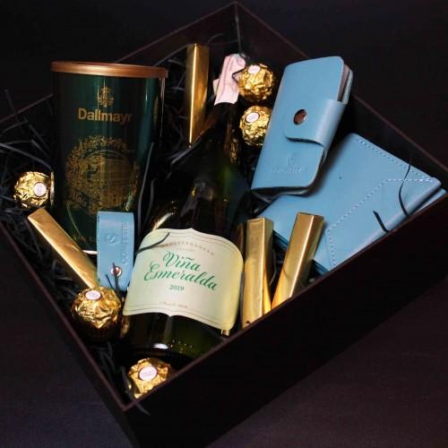 Жіночий подарунковий бокс з вином та шкіряними аксесуарами ►Esmeralda від Franklin-2