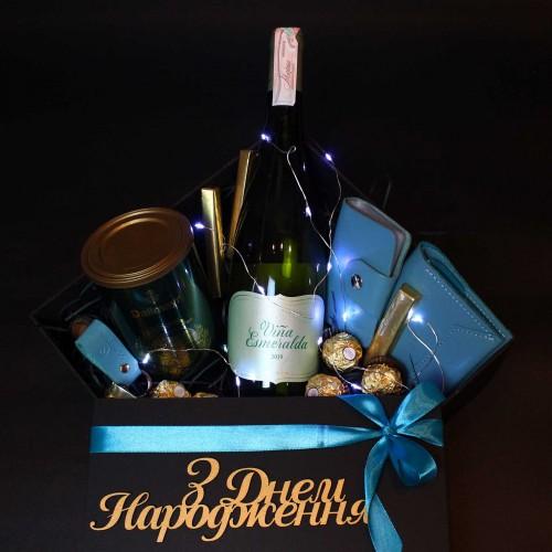 Жіночий подарунковий бокс з вином та шкіряними аксесуарами ►Esmeralda від Franklin-4