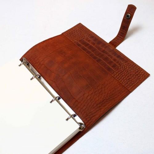 Кожаный блокнот на кольцах Business Crocodile-7