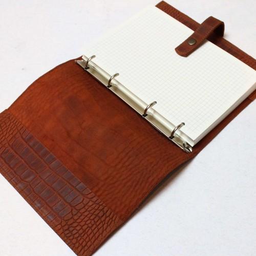 Кожаный блокнот на кольцах Business Crocodile-5