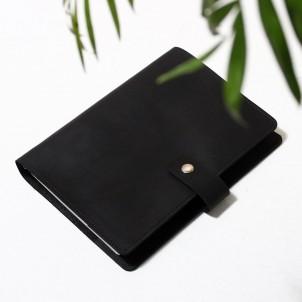 Кожаный блокнот на кольцах Business Black-1
