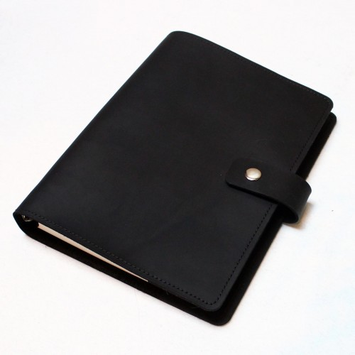 Кожаный блокнот на кольцах Business Black-8