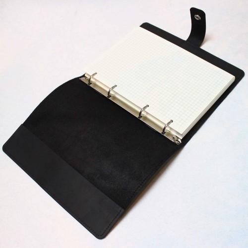 Кожаный блокнот на кольцах Business Black-9