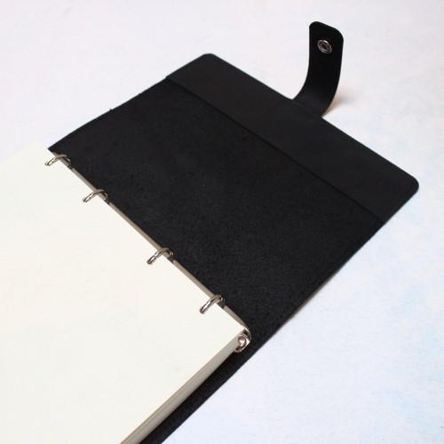 Кожаный блокнот на кольцах Business Black-10