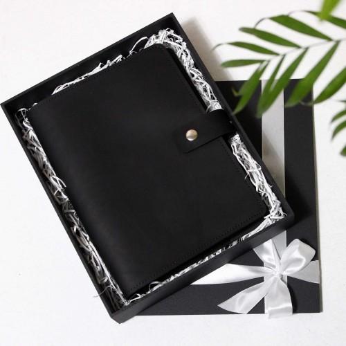 Кожаный блокнот на кольцах Business Black-7