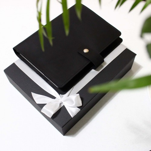 Кожаный блокнот на кольцах Business Black-6