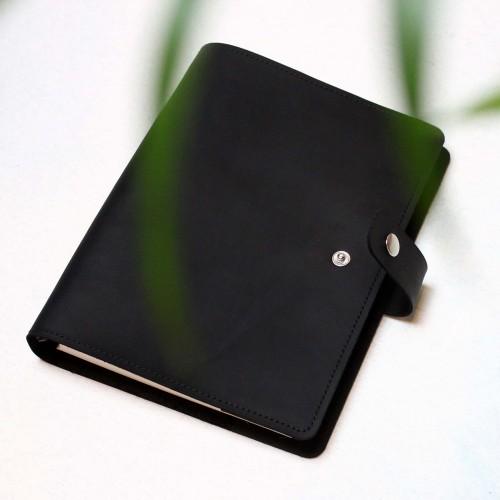 Кожаный блокнот на кольцах Business Black-4