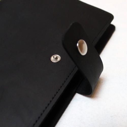 Кожаный блокнот на кольцах Business Black-3