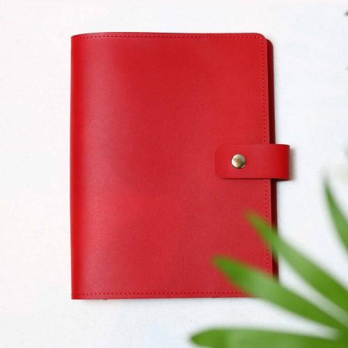 Кожаный блокнот на кольцах Business Red-2