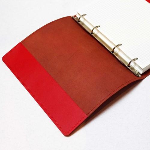 Кожаный блокнот на кольцах Business Red-7