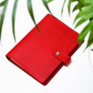 Кожаный блокнот на кольцах Business Red-1