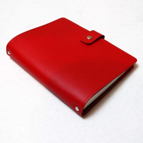 Кожаный блокнот на кольцах Business Red-6
