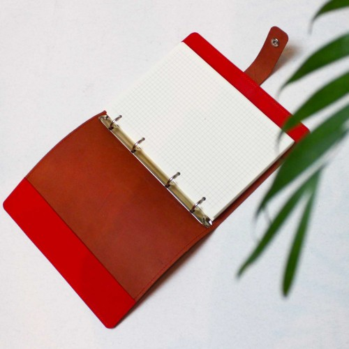 Кожаный блокнот на кольцах Business Red-5