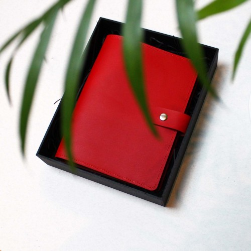 Кожаный блокнот на кольцах Business Red-4