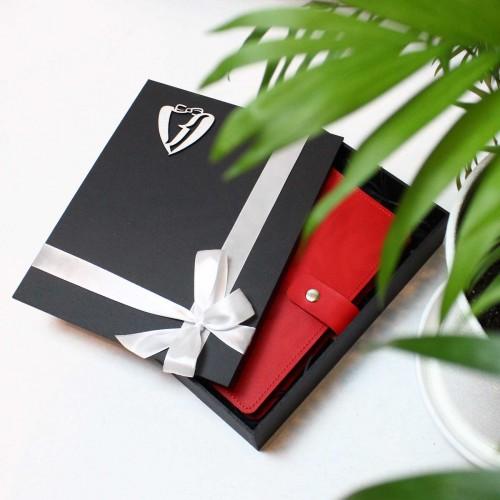 Кожаный блокнот на кольцах Business Red-3