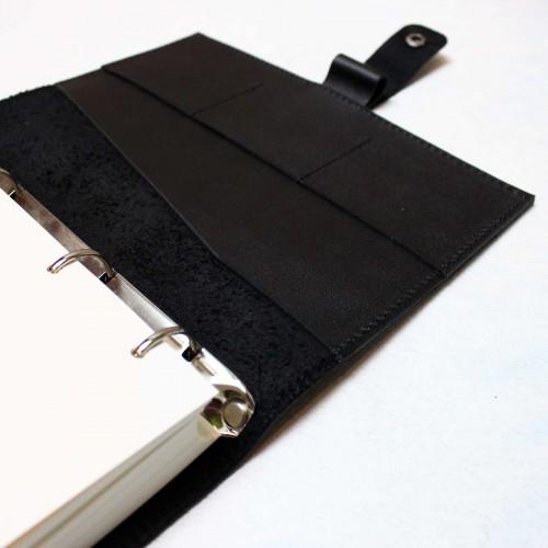 Кожаный блокнот на кольцах Prestige Black-9